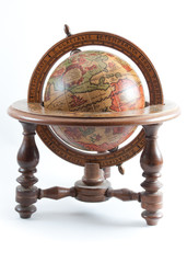 Old globe showing North America on isolated background.