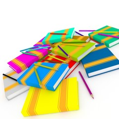 abstract school composition with books and pencils