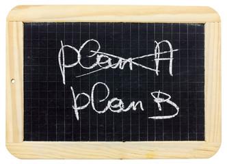 """""""plan A"""", """"plan B"""" sur ardoise, fond blanc"""