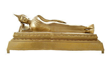 reclining Buddha image isolated on white background