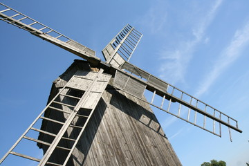Aluminium Prints Mills Old trestle type Windmill (from 1896) in close up