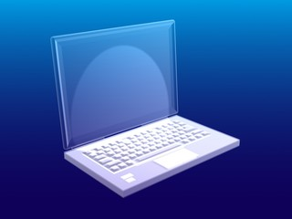 Three-dimensional computer with a blue screen
