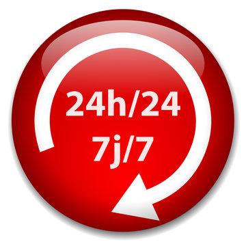 """Bouton """"24h/24 7j/7"""" (7 jours sur 7 service 24 heures sur 24)"""