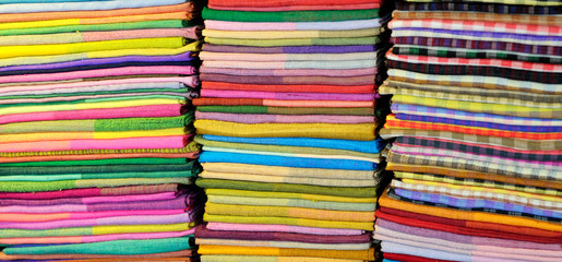 Coloured fabrics at market