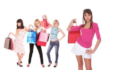 group shopping girl isolated on white background