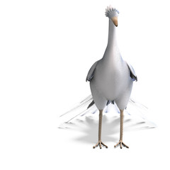white fantasy bird with beautiful feathers. 3D rendering with cl