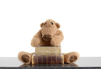 ours en peluche brun avec vieux livres