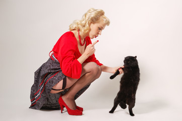 pin-up girl with black cat