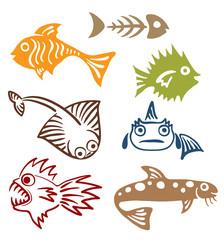 A set of abstract fish