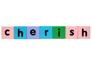cherish in toy play block letters with clipping path on white