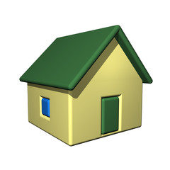 The small one-storeyed house, 3d, a white background.