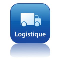 Bouton LOGISTIQUE (service livraison transport express camion)