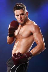 Action boxer in training attitude