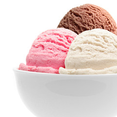 Triple ice cream in bowl