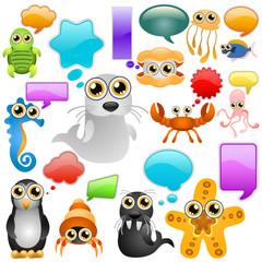 marine life cartoon character set