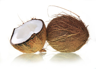 Wall Mural - Coconut on white background
