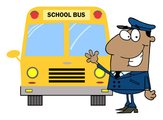 African American Driver In Front of School Bus