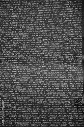 Names of Vietnam war casualties on War Veterans Memorial