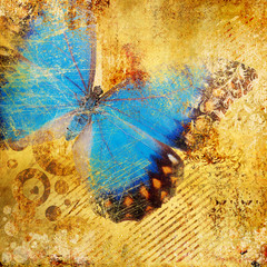 Photo sur Aluminium Papillons dans Grunge golden abstraction with blue butterfly