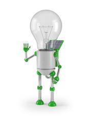light bulb robot - greeting