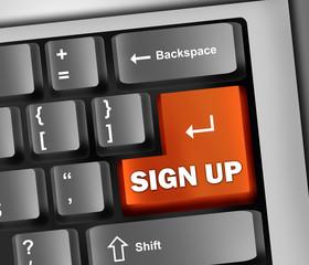 """Keyboard Illustration """"Sign Up"""""""