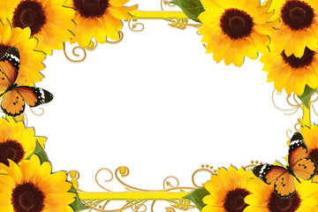 Sunflower Border with butterfly and golden frame