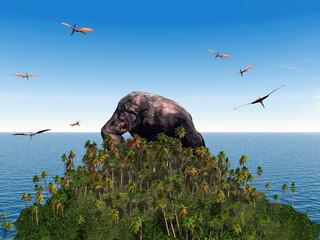 Gorilla with flying Dinosaur