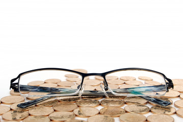 eyeglasses with coins