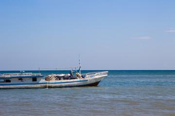 Fishing boat on water in timor leste