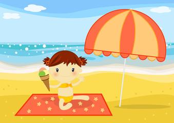 bambina con gelato in spiaggia