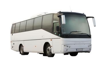 white passenger bus isolated