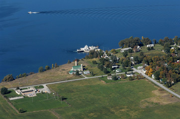 Aerial view of the lake island and a ferry boat