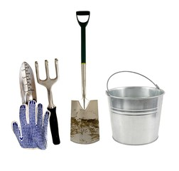 various garden tools on a white background
