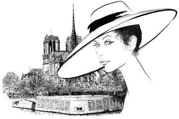 Tuinposter Illustratie Parijs Woman nearby Notre Dame in Paris