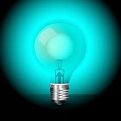 blue light bulb vector