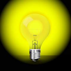 yellow light bulb vector