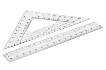 Set of plastic transparent rulers