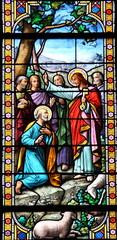 Spoed Foto op Canvas Stained Vitrail, Eglise d'Arradon
