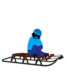 Boy On A Sled Silhouette