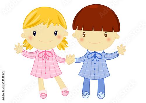 Bambini In Grembiule Per La Scuola Elementare Su Sfondo