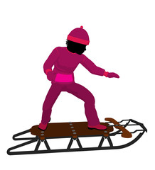 African American Girl On A Sled Silhouette