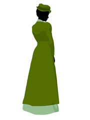 African American Victorian Woman Illustration Silhouette