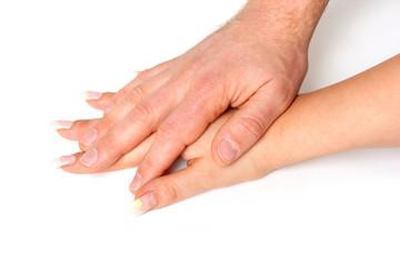 Hände aufeinanderlegen