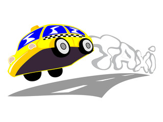 vector illustration of taxi going with high speed