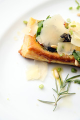 Tarte fine aux or tart vin food with cheese