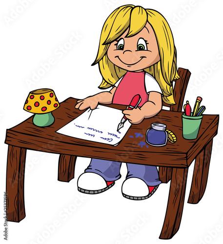 Schreibtisch büro comic  Mädchen, Schreibtisch, Hausaufgaben, schreiben
