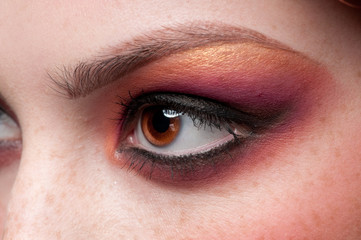 Closeup eyes make-up zone. Purple and golden colors