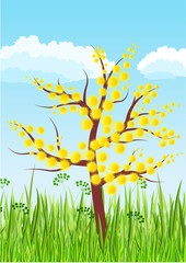 Stylized blossoming tree on green grass