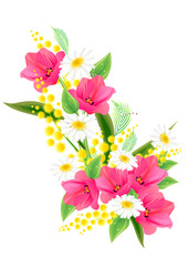 Big bunch of spring flowers with tulips and daisies