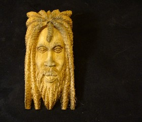 Wood Carving of a Rastafarian from Jamaica